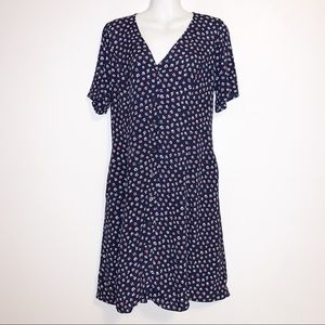 GAP Floral Midi V-neck Dress with Front Buttons